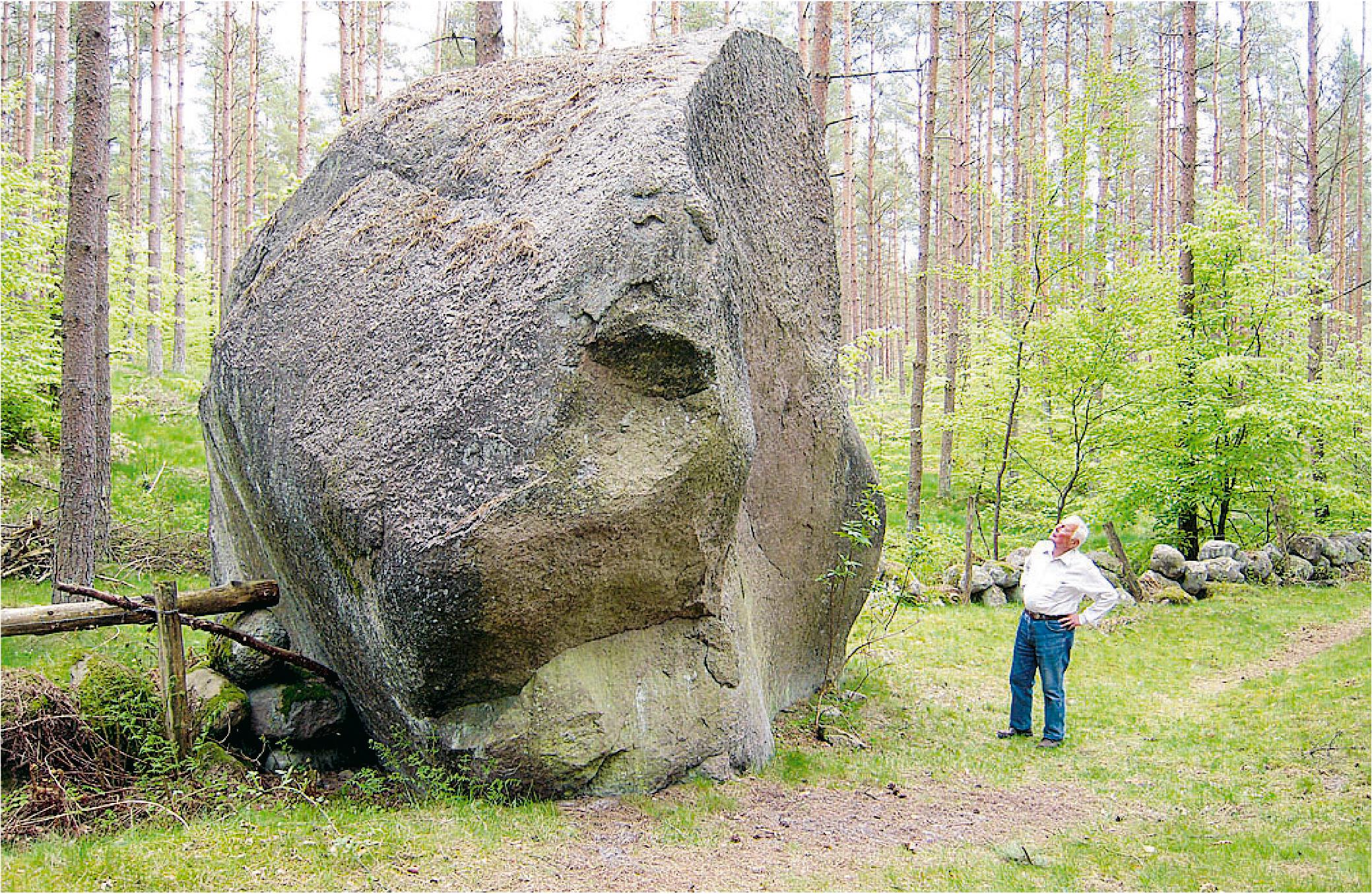 Artikelförfattaren Sven Plavén vid vännestenen Krogrygg.