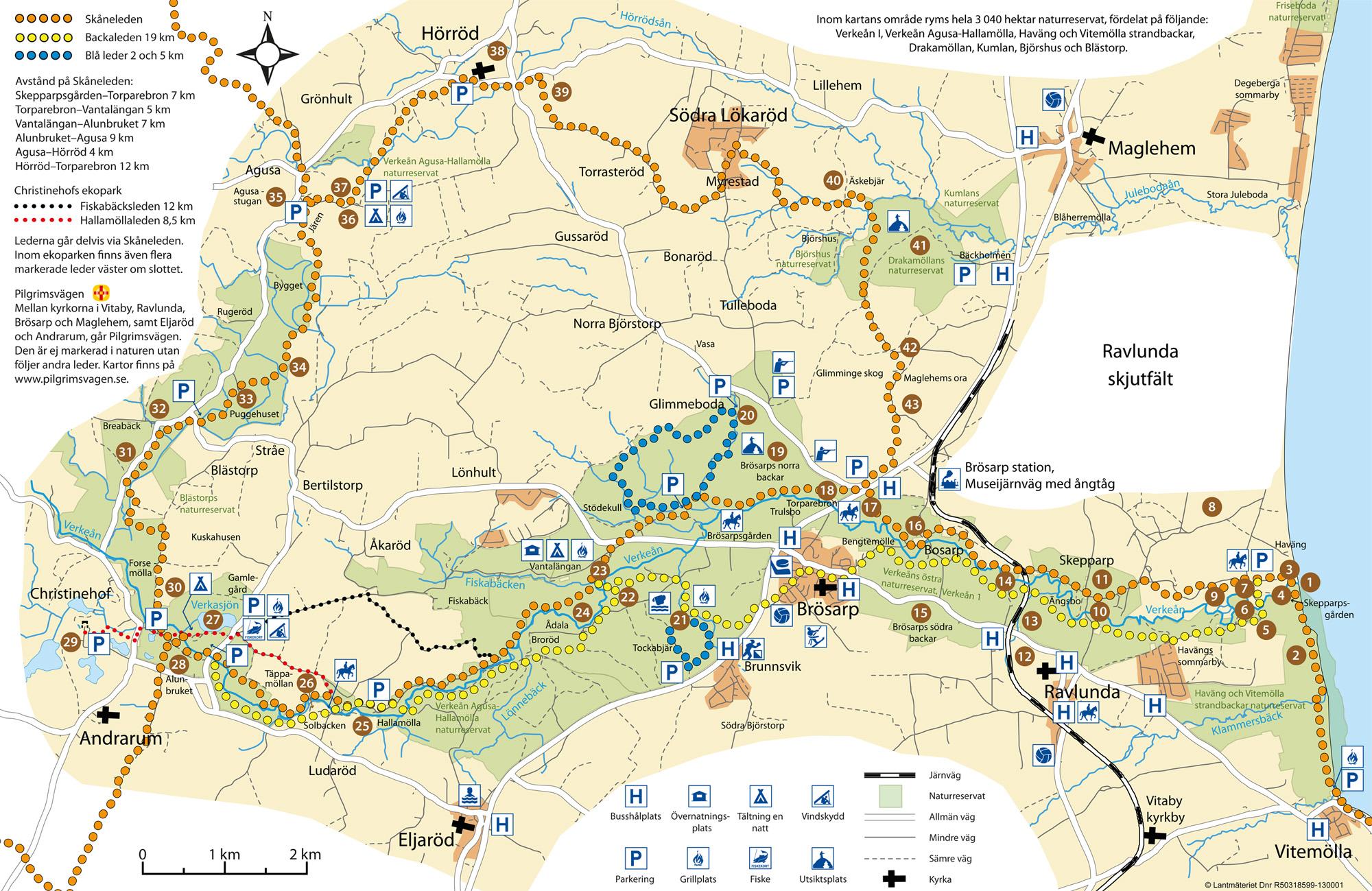 Det finns över 100 km vandringsleder och motionsspår runt Brösarp på Österlen i Skåne.