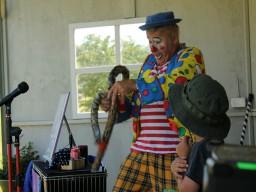Clownen Jumping Joe under Barnens dag i Brösarp 2013.
