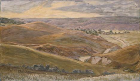 """Prins Eugen, """"Backarna mot Brösarp"""" från 1931. Tempera och olja på papp, 57 × 98 cm."""