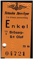 Tågbiljett, enkel mellan Brösarp och S:t Olof med Skånska Järnvägar.