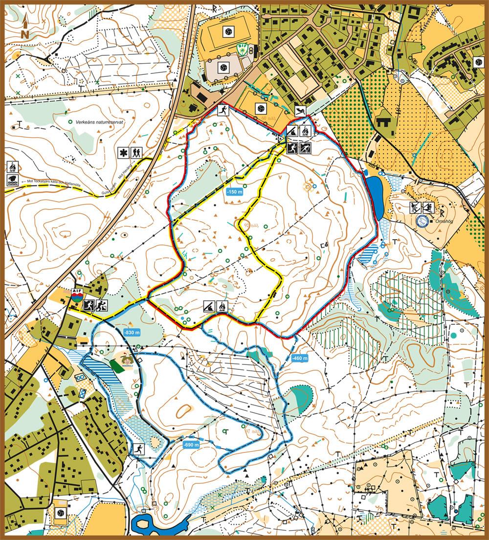 Ladda ner karta över motionsspår i Brösarp, 5 km, 2,5 km och 1,75 km elljusspår.