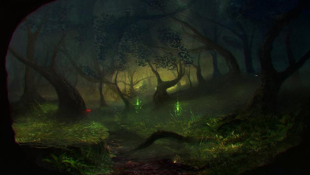Har du enorm tur kan du få se ljusfenomenet lyktgubbar. Så här kan det se ut i sagornas värld när drakblossen irrar fram över marken.