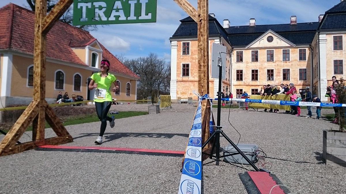 Lina Hellström från Region Skåne spinger in på damernas fjärde bästa tid på 12 km, 1.09.07 (tim/min/sek). Foto: Fabian Rimfors