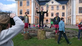 Medaljtrojkan på 21 km: Fred Johansson (silver), Jakob Ekelund (guld) och Jon Albizuri (brons). Foto: Fabian Rimfors