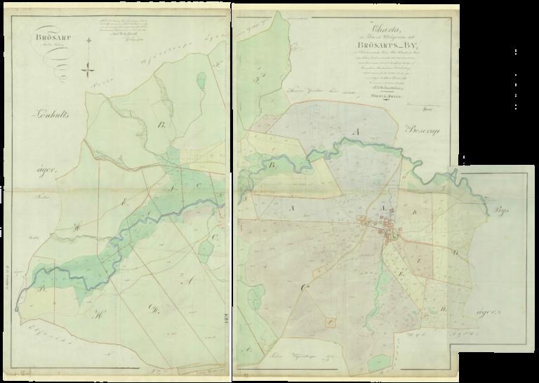 Charta öfver In och Utägorna till Brösarps By, uti Christianstads Län, Albo Härad. Lantmätare Tomas Ludwig Rönström 1815.