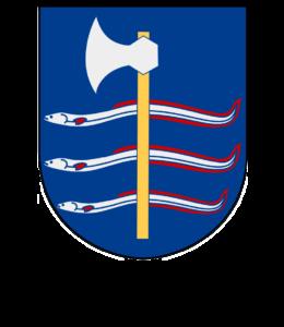 Albo häradsvapnen fastställdes av Kungl. Maj:t den 4 april 1952: I blått fält en stolpvis ställd bila med huvud av silver och med skaft av guld, vilket är lagt över tre stolpvis ordnade, bjälkvis ställda ålar med röda fenor. Yxan i vapnet kommer möjligen av att det fanns en yxkult i Sankt Olofs socken under forntiden och ålarna symboliserar ålfisket i trakten. Häradsvapnet används av Albo Härads hembygdsförening.