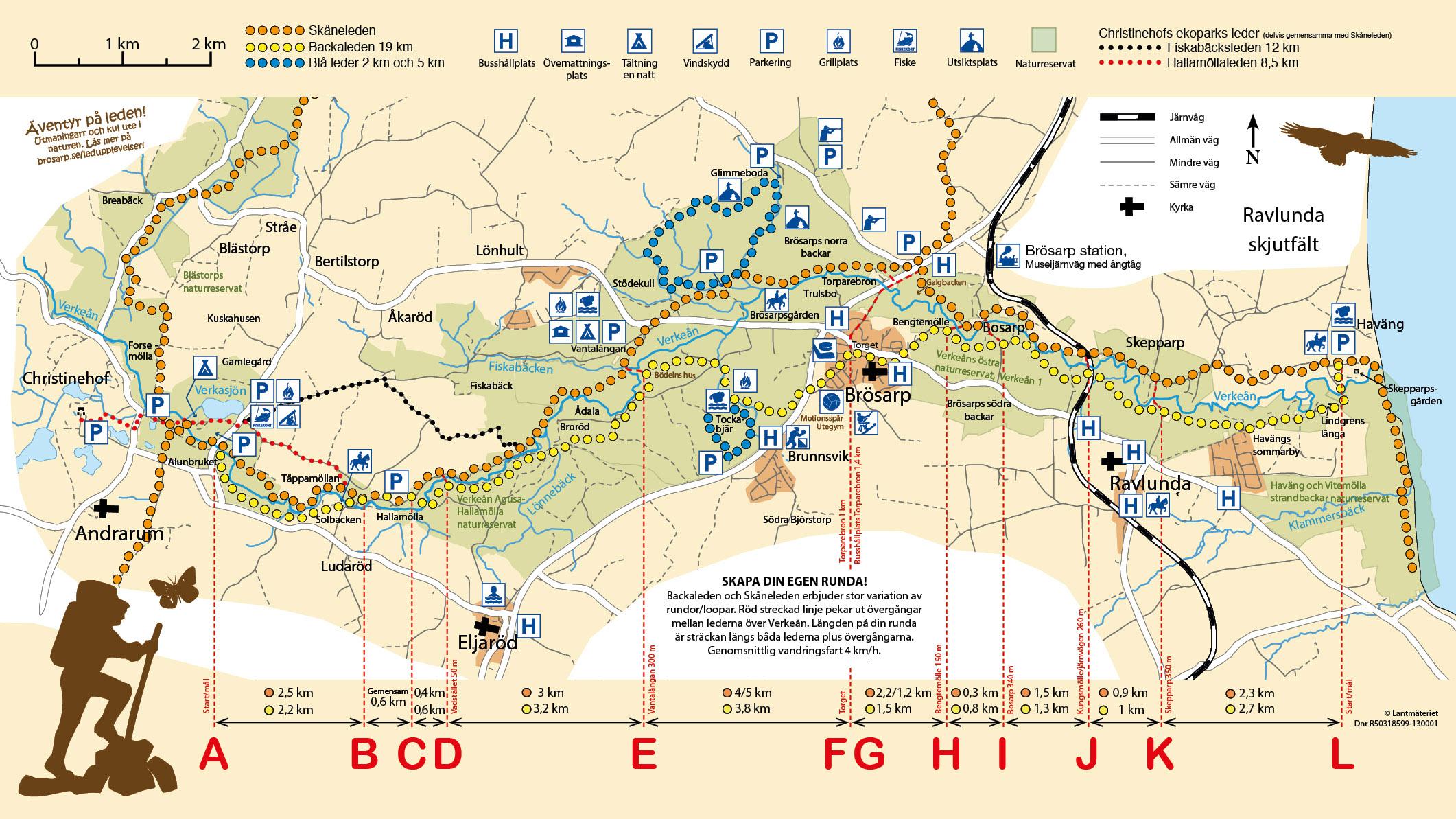 Ladda ner karta över Backaleden och Skåneleden med alla dess loopar och rundvandringar.
